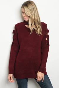 S9-5-2-S1124 BURGUNDY SWEATER 2-2-2
