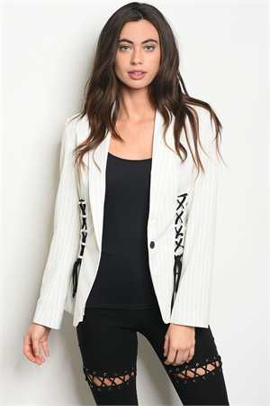 S9-10-2-J30312 WHITE BLACK STRIPES BLAZER 2-2-2