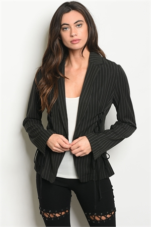 S9-9-3-J30312 BLACK WHITE STRIPES BLAZER 2-2-2