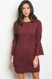 S11-20-2-D72420 BURGUNDY WHITE STRIPES DRESS 2-2-2