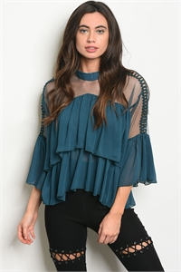 109-6-3-T21465 TEAL TOP 2-2-2
