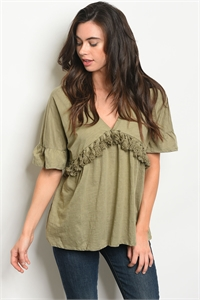 S8-13-4-T12601 OLIVE WASH TOP 3-2-1