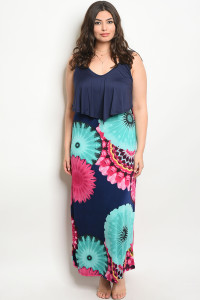 C6-A-3-D11221X NAVY FLORAL PLUS SIZE DRESS 2-2-2