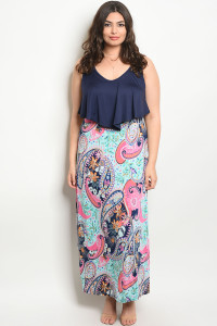 C14-A-3-D11221X NAVY MINT PRINT FLORAL PLUS SIZE DRESS 2-2-2