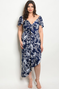 C10-A-4-D359X NAVY PRINT PLUS SIZE DRESS 2-2-2