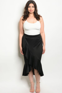 107-2-2-S12922X BLACK PLUS SIZE SKIRT 2-2-2