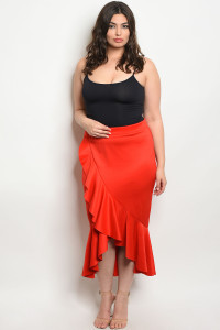 107-2-3-S12922X RED PLUS SIZE SKIRT 2-2-2