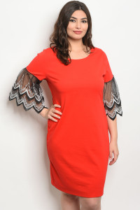 C24-A-3-D5927X RED BLACK PLUS SIZE DRESS 2-2-2