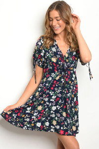 124-1-1-D20101 NAVY FLOWER PRINT DRESS 2-2-2