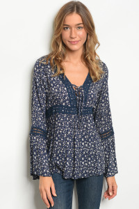 123-3-2-T10020 NAVY TAUPE TOP 2-2-2