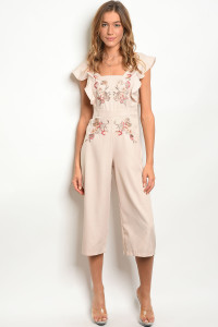 109-3-3-J5364 KHAKI WITH FLOWER JUMPSUIT 3-2-2
