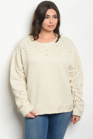 S2-9-2-S20930X OATMEAL PLUS SIZE SWEATER 2-2-2