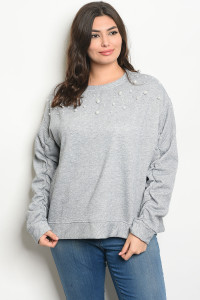 S2-9-2-S20930X GRAY PLUS SIZE SWEATER 2-2-2