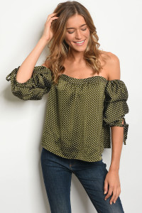 S2-6-4-T3144 OLIVE WHITE WITH DOTS TOP 2-2-2