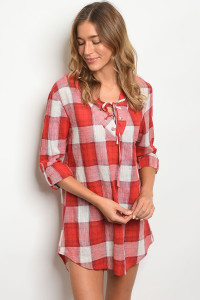 119-3-2-D3099 RED CREAM CHECKERED DRESS 3-2-2