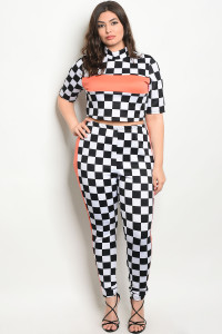 C86-A-6-TP30534X BLACK WHITE CHECKERED PLUS SIZE TOP & PANTS SET 3-2-1