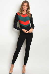 C68-A-7-J10117 BLACK RED JUMPSUIT 2-2-2