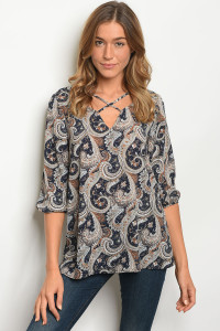 C74-A-6-T30196 NAVY PAISLEY TOP 2-2-2