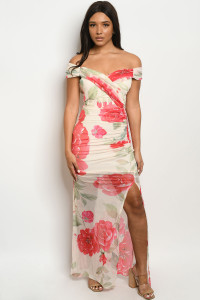 S3-9-2-D17785 CREAM RED FLORAL DRESS 2-2-2