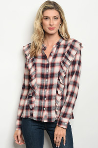 S8-13-4-T76806 PINK WINE CHECKERED TOP 2-2-2