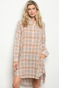 119-1-3-D20236 TAUPE BLACK CHECKERED DRESS 2-1-1