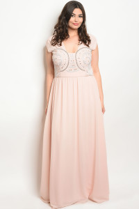 S3-10-3-D16634X BLUSH WITH STONES PLUS SIZE DRESS 3-2-1