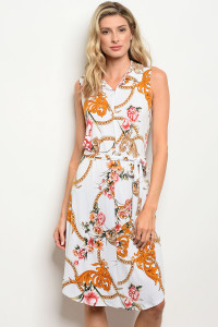 C18-A-5-D3484 OFF WHITE WITH FLOWER PRINT DRESS 2-2-2