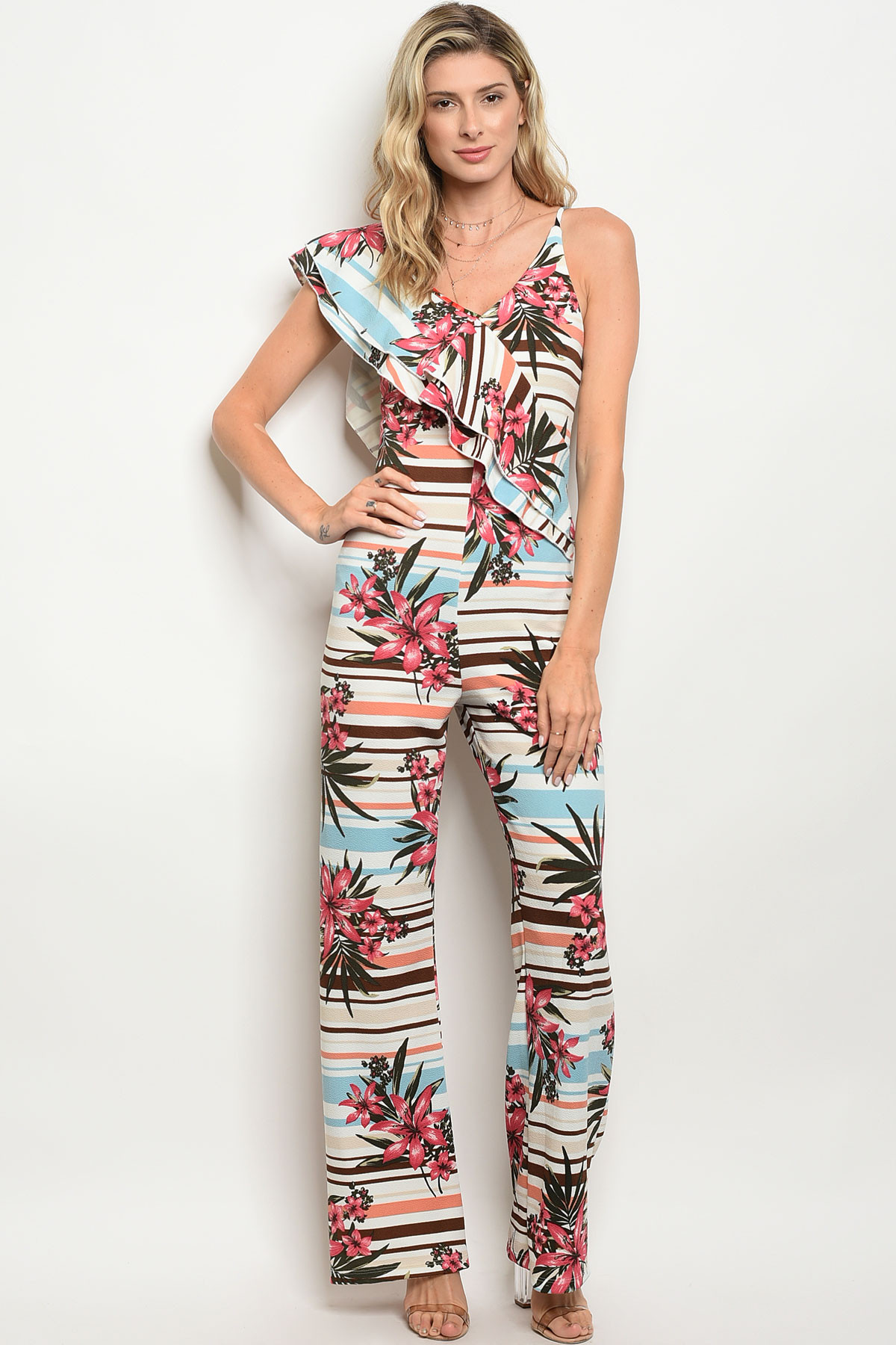 155bdb9364 ... OFF WHITE ROSE FLORAL JUMPSUIT 2-2- · Larger Photo ...
