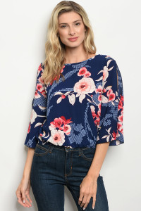 C41-B-4-T6498 NAVY FLORAL TOP 2-2-2