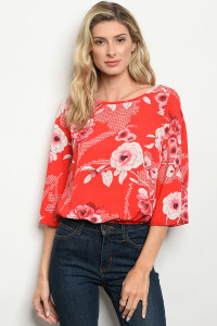 C41-B-4-T6498 RED FLORAL TOP 2-2-2