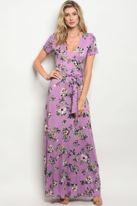 C38-A-4-D1241 LAVENDER FLOWER PRINT DRESS 3-2-1