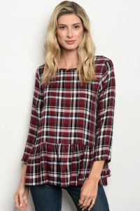 C48-B-6-T1144 BURGUNDY WHITE CHECKERED TOP 2-2-2