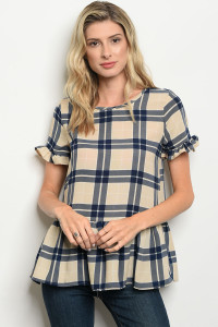 C48-B-7-T1296 NAVY BEIGE CHECKERED TOP 3-2-1