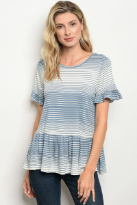C48-B-2-T1309 BLUE WHITE STRIPES TOP 3-2-1