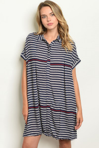 S12-9-2-D603202 NAVY IVORY STRIPES DRESS 1-2-2-1