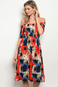 125-2-1-D8216 RED MULTI FLORAL DRESS 2-2-2