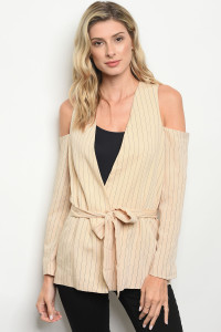 S10-11-1-T3800 CREAM BLACK STRIPES TOP 3-2-1