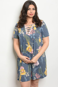 C55-A-1-D12188X INDIGO FLORAL PLUS SIZE DRESS 1-2-2