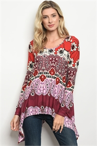 C93-A-1-T1585 BURGUNDY IVORY WITH PAISLEY TOP 1-4-2-1