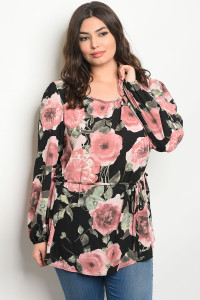 C59-A-1-T7264X BLACK FLORAL PLUS SIZE TOP 2-2