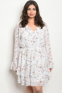 S10-11-4-D38635X WHITE FLORAL PLUS SIZE DRESS 2-2-2