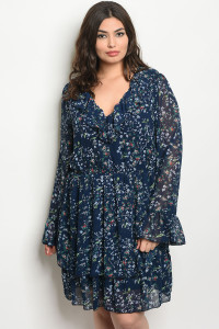 120-3-1-D38635X NAVY FLORAL PLUS SIZE DRESS 3-1-1