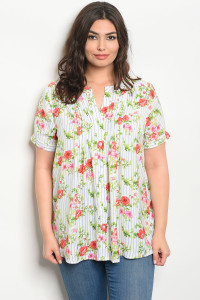 124-3-1-T16877X WHITE RED FLORAL PLUS SIZE TOP 3-2-2