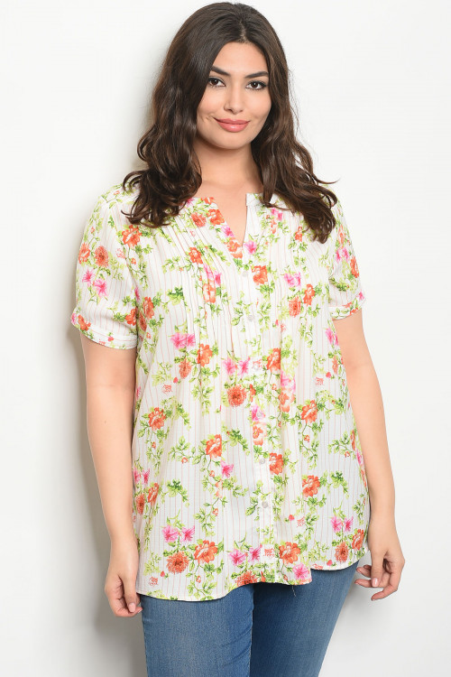 124-3-1-T16877X WHITE CORAL FLORAL PLUS SIZE TOP 2-2-2