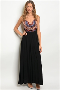 124-3-1-D15396 BLACK MULTI DRESS 1-3-1