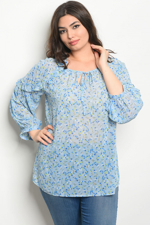 124-3-1-T81033X BLUE FLORAL PLUS SIZE TOP 3-1-1