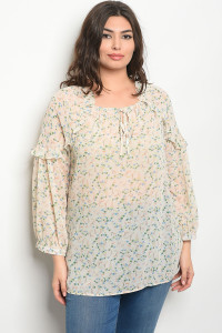 135-2-1-T81033X TAN FLORAL PLUS SIZE TOP 2-2-2