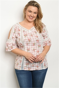 135-2-1-T10096X WHITE MAUVE FLORAL PLUS SIZE TOP 4-1-1