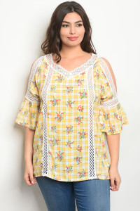 S24-7-3-T10096X WHITE YELLOW FLORAL PLUS SIZE TOP 2-2-2