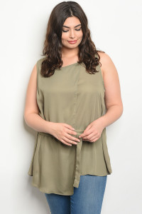 S15-10-2-T377X OLIVE PLUS SIZE TOP 1-2-3
